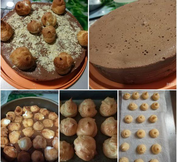 Tarta de flan de chocolate con profiteroles
