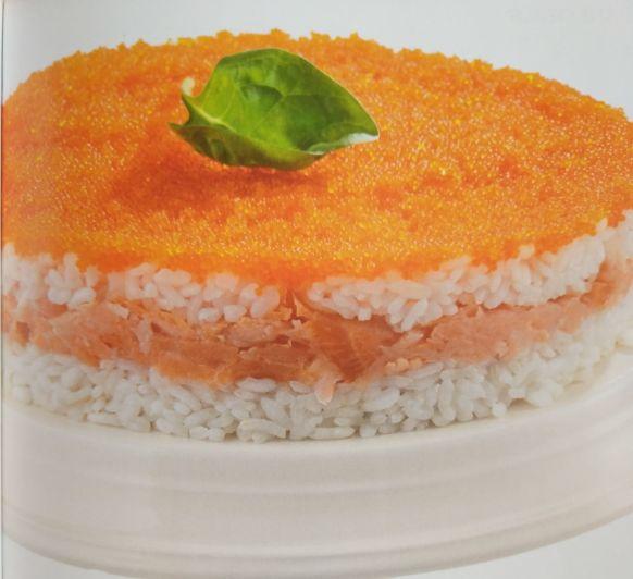 Pastel de arroz y salmón